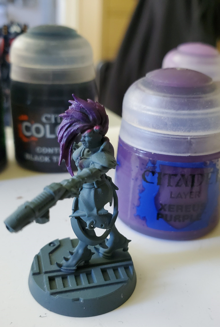 So I overbrushed Xereus Purple over most of the hair. Looks better, now.