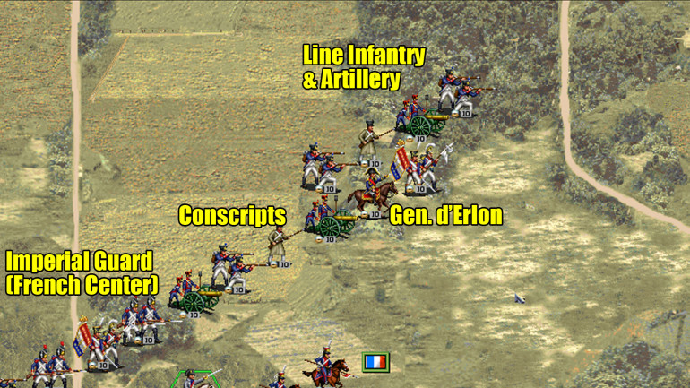 The French right wing, primarily made up of General d'Erlon's Corps.