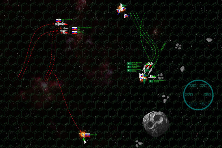 """The K-275 veers away, hoping to hide her savaged bow amidst the asteroid debris orbiting alongside the ice giant moon.  Captain al-Maghrebi sidesteps away from the Russians, keeping them in his broadside and hedging toward the asteroid debris while keeping a wary eye out for possible collisions.  The Russians close formation and turn to starboard, setting up for a hard rake across Arab sterns in the next minute or so.  The Russians also send in their full aerospace / torpedo strike, no less than 52 P-500 torpedoes and a hail of aerospace missiles and torpedoes from the MiG-103 """"Tunguska"""" fighters and Tu-97 """"Zvesburya"""" (Star Storm) bombers of the Night Witches.  Yet here is where al-Maghrebi makes an unconventional move with his own larger aerospace wing.  He forgoes an immediate strike on the Russians, holding back and using his fighters defensively to shoot down huge numbers of the Russian warheads.  Yet the Mutamid is still crippled, instantly knocking out the League flagship.  Also, Russian scouts are able to get at the League bombers, the Night Witches shooting down three of them, thus diminishing the delayed League torpedo strike.  Yet the Russian """"Sunday Punch"""" could have taken out the Mutamid and at least one of their destroyers as well, so al-Maghrebi may have saved his overall battlegroup even as he lost his task force. League torpedoes, meanwhile finish off the K-275 and maul the K-271, while they have absorbed the main firepower of the initial Russian strike."""