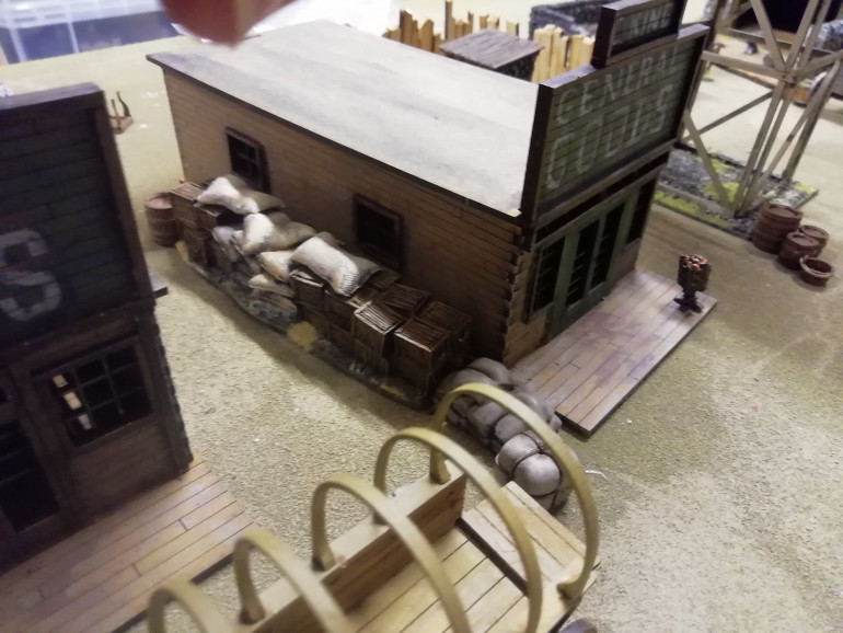 I've thrown together some parts from other rangers that seem to work such as a barricade from Rorkes Drift to represent store goods. The barn from walking dead and a couple if buildings from my war of independence