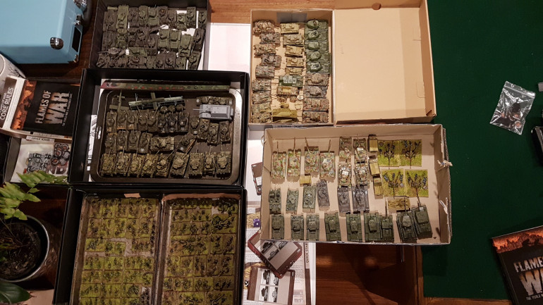 Tanks collection from 2 mates with my own FOW stuff. No doubt there will some big tank battles in the future