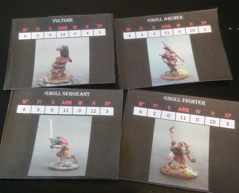 Used some homebrew stat cards using my mini pictures for the enemy pieces. Kept me out of the book a little longer.