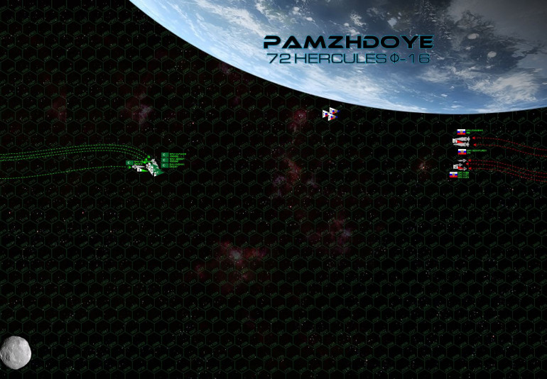 """The two fleets close rapidly along the daylight side of Pamzhdoye (72 Hercules Phi-16), one of the outer terrestrial planets of the smallest of the three 72 Hercules red dwarf stars.  But while the Mutamid battlegroup maintains its high approach speed, the Russians are immediately kicking in powerful retros to decelerate.  This is somewhat unusual for Russian naval formations, who tend to close as quickly as possible to make best use of heavy plasma and rail cannon gunnery.  But if the Russians are going to win this fight, it will be with torpedoes and heavy aerospace strikes.  Also, the overloaded strike carrier CPK Ivanishin is going to need three complete turns to launch her entire aerospace group, and remember how slow these Russian P-500 torpedoes are.  So the Russians are content to take their time on a slow approach.  The League, meanwhile, comes on much faster.  Yet with a turn to starboard, they present a long-range broadside to the Russians ... yet also yield the """"gravity gauge"""" to the Russians as well.  Now the Russians can maneuver between the league and the planet, forcing the league to turn INTO planet gravity to engage the Russians in future turns.  Secondly, the League doesn't engage the corvettes at this early stage.  Sure, their guns can't do much damage at this distance, but it doesn't take much to knock out a K-56 and even a single kill means 12 less torpedoes coming at you each turn."""
