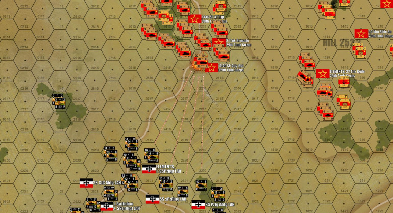 Gianna decides to fall back in the center, giving up one objective hex to deny a point-blank battle against large Soviet armored forces.  Personally I feel she underestimated the resilience and firepower of her German force (including Tigers, including Michael Wittmann who was there on 12 July 1943), but she does have a strong case where she's now engaging the Soviets at LONG range over open Russian steppe, where her tanks are MUCH better than mine.  As I take the objective, however, she fires against my spearhead with opportunity fire - it's a sound tactic, she just rolls a