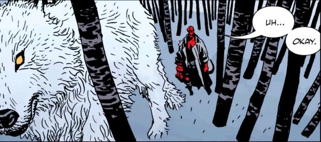 One enormous wolf!  This beast is a spirit guardian of sorts and assists Hellboy to battle Koschei's skeleton horde.