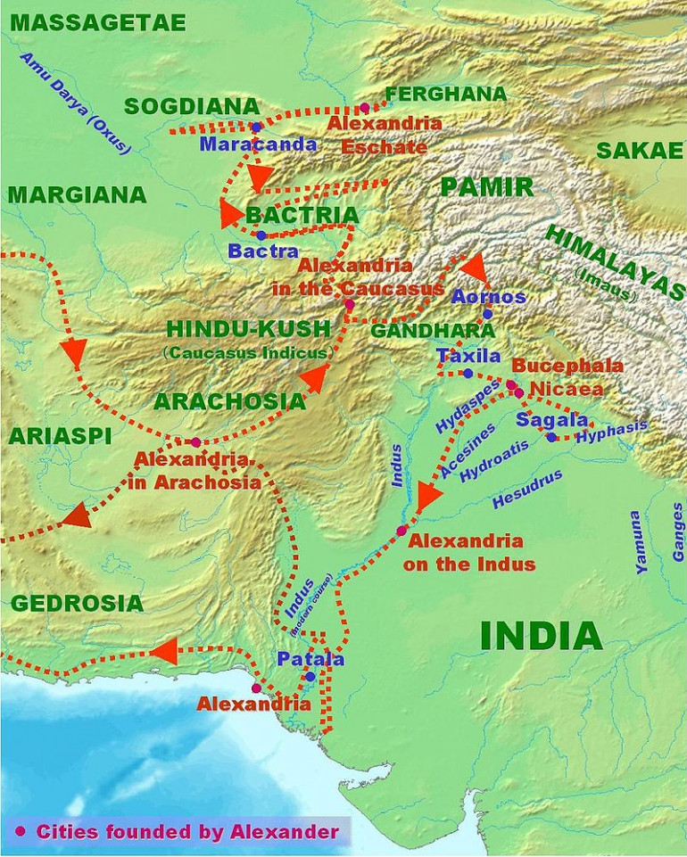 Alexander in India, Public Domain Map from Wikipedia