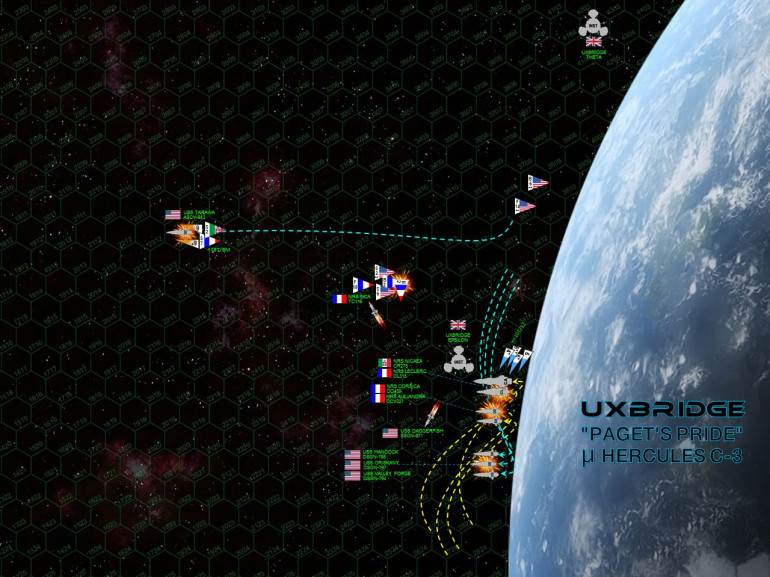"""The Americans largely lose the initiative, and Commodore Pilaex uses planet Uxbridge to screen the sterns of his ships.  In response, Captain Spencer tries to bypass the Romans, then turn into a shallow dive toward the planet, THEN hairpin turn away to set up some kind of a broadside.  His ships all have enhanced engines so they can JUST pull off the maneuver, but the results are not great ... they can't target the port quarters of the of the Nicaea or the Leclerc.  The Tarawa more or less has to flee the immediate battle area, making a starboard turn away from the planet and raising maximum steam to put as much distance between her and enemy guns.  In all, it's a bad movement phase, the Americans have to hope their larger ordinance strike and heavily-upgraded shielding can """"brute force"""" their way through the difficult turn.  DeChalemonde's light cruiser NRS Leclerc fires her forward rail guns at the fleeing Tarawa, putting the rest of her broadside into the Oriskany, just 540 kilometers away.  Yet even as the Lady O's newly-upgraded shields reel under the lasers and rail guns, Leclerc is hammered by the combined Mark 48 gravitic torpedo spreads of all the American warships, plus the US Marine Corps' VMF/A-319 (The Tigersharks) launched off the USS Tarawa.  Despite a withering hail of accurate Roman point-defense, enough American torpedoes are guided by enhanced electronic warfare suites ... and the double-elite """"Tigershark"""" Marines land just enough  ASM-56 Harpoon torpedoes and ASM-92 Hellfire missiles ... to detonate the Leclerc's starboard engineering suites, sending her crippled hulk spinning through space.  Two Dassault-Rafale"""