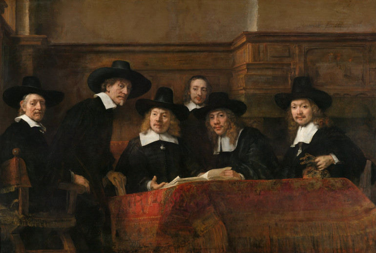 The Sampling Officials (also: Syndics of the Drapers' Guild), Rembrandt, 1662.