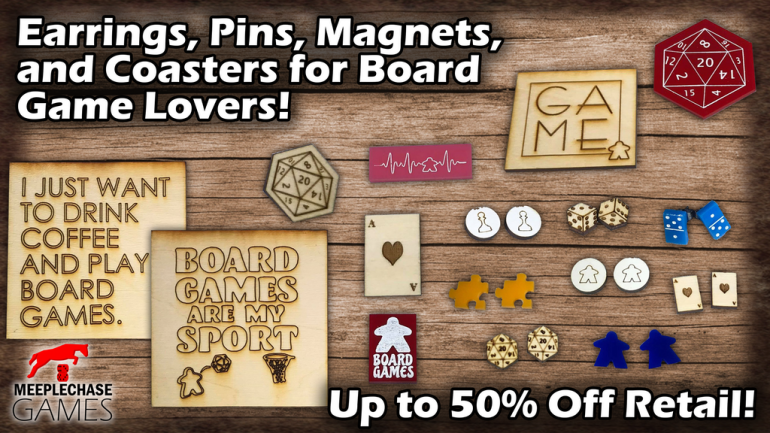 Earrings, Pins, Magnets, and Coasters for Board Game Lovers!