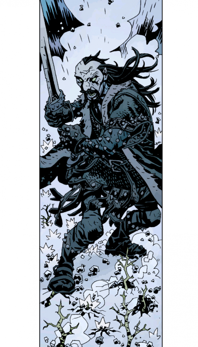 Koschei the Deathless.  Sent to destroy Hellboy at any cost by the Baba Yaga, Koschei is fated to be brought back from death again and again... whether he wants to be or not!