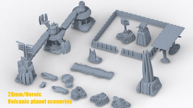 Printable scenery: 28 mm Volcanic industrial