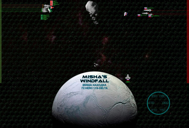 """Here we see Misha's Windfall, where Russian industrialists have tugged an asteroid so close to this small moon of an outer ice giant (72 Hercules A-119) that gravity is tearing the asteroid apart, the impact collisions allowing the Russian station to bring a whole new meaning to the term """"colonial strip mining.""""  The Russians were hoping this hazardous, out-of-the-way station would make for a good waypoint for the Potemkin task force, but the Japanese and Arab League have caught wind of the ruse and made the intercept.  Both sides use the disintegrating asteroid to mask their initial approach, even if it means setting course straight FOR the debris at a relatively high speed."""