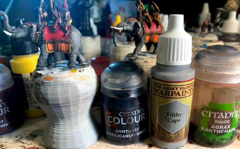 Paints used for grey elephant skin