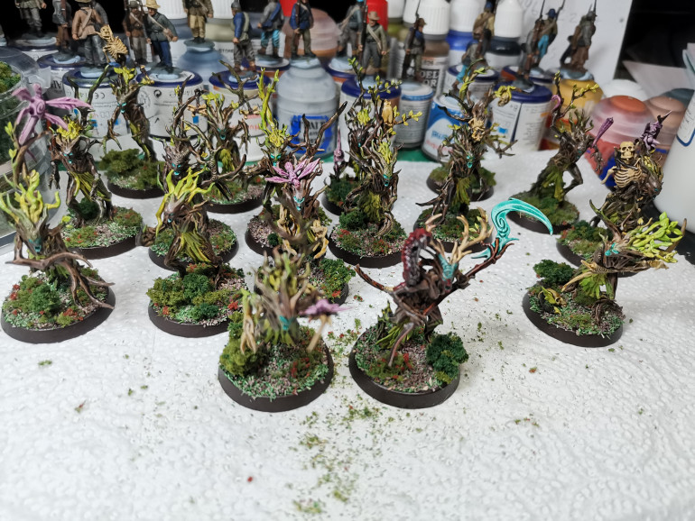 Well that's the end of that. The project was spread over a wide period of time but that was more to do with me and my distractions. The scheme is actually very time effect and a couple hours over a couple days can see these brought to completion at a decent level. I'm suprised how these came out and the base definitely brought it all together. The way I recommend the Satin Varnish, the PVA spray over the base and the matt varnish at the end will leave these minis as well protected as possible, considering the dryads shape and the contrast paint seeming to be more easily chiped. I'll continue to do this for the rest of my Sylvaneth, I'll probably update this project everytime I paint new models, I have Kurnoth Hunters which should be on this project...... at somepoint.
