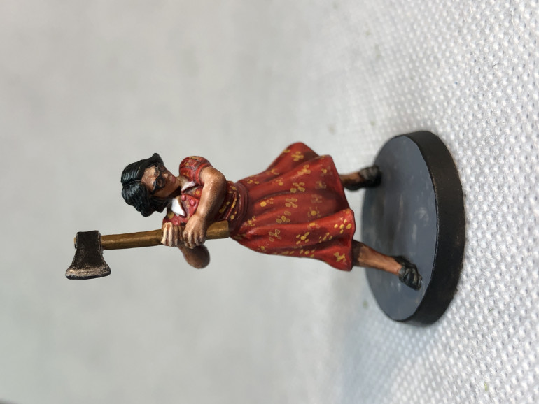Borden's dress was painted using Blood Angel contrast and a lot of patience with a fine brush and orange paint...