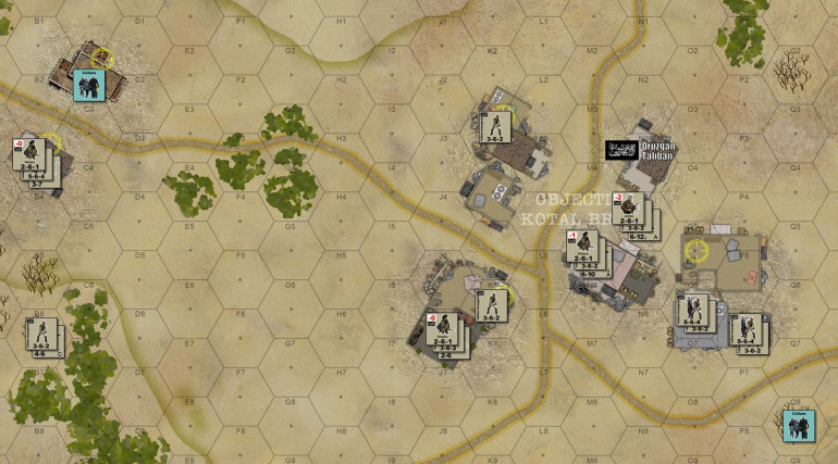 I'll be playing the Taliban, and I am set up to stop the Australian 4th RAR / Commando from taking these objective hexes.  The location of civilians is rolled randomly.  Their movement will also be random.  Australian player gets VP for safely evacuating them and a HUGE penalty if they hit them.  There's no penalty to the Australian player in the Taliban hit civilians, but the Taliban CAN hit them just to prevent the Australian player from getting the VP evac award.  Yes, there is a game incentive to murder civilians - the Taliban are bastards who are widely hated by the local populace through wide areas of Afghanistan.