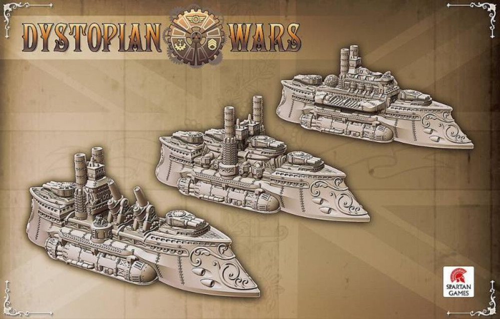Dystopian wars table and Kingdom of Britannia fleet