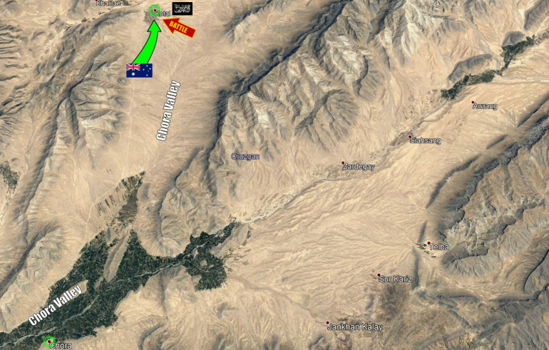 A zoom-in on the Chorat Valley, showing one possible guess for a specific location of the action.