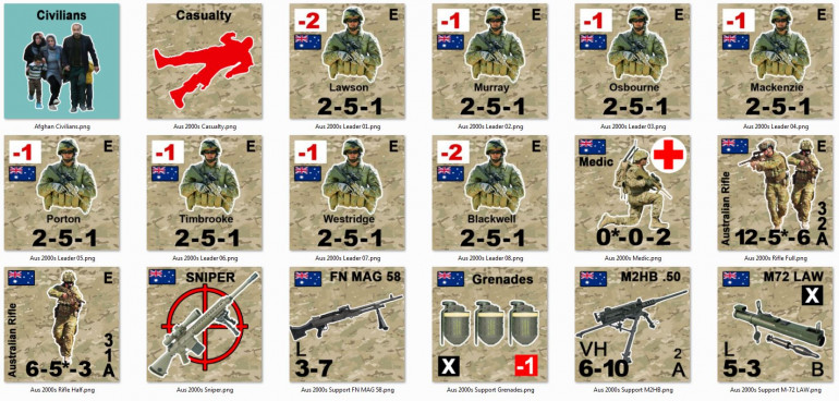 Australian units, including half squads (fire teams), squads, leaders, plenty of support weapons, casualties for the medics evacualte, and civlians to look out for.  I'm think of handling the Australian snipers differently ... having one actually ASSIGNED to the force but with a certain number of shots assigned almost as