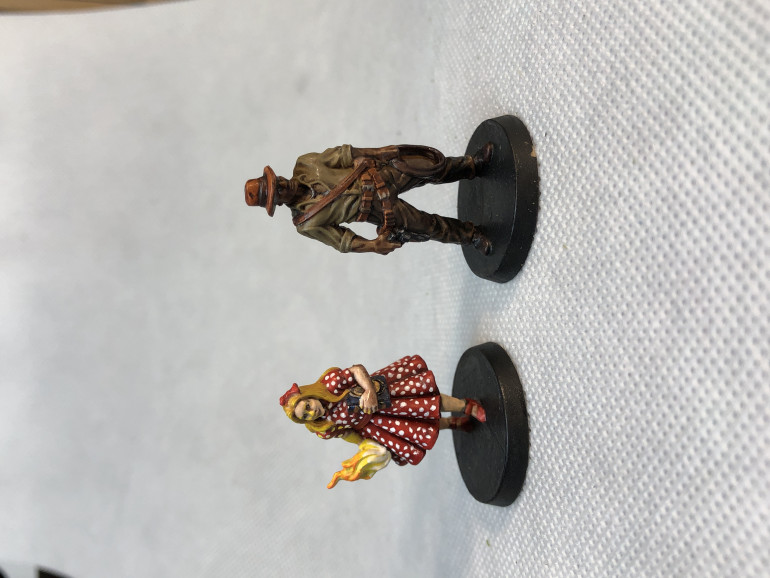 The Kid and John Morgan were fun to paint (well, despite the myriad of little white dots on the Kid's dress. In retrospect, I would have created more contrast in Morgan's clothes but I wanted to stick with the Indiana Jones look.
