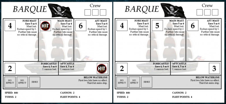 Here are the ships sheets for Jenn's two pirate barques.  You can see where I've clipped the mainmast off the first one, and knocked out her aft guns with a salvo through the aft castle.