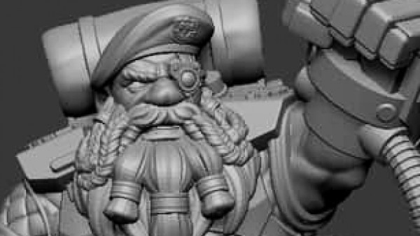 Space Dwarf Sergeant On The Way From Hardcore Miniatures