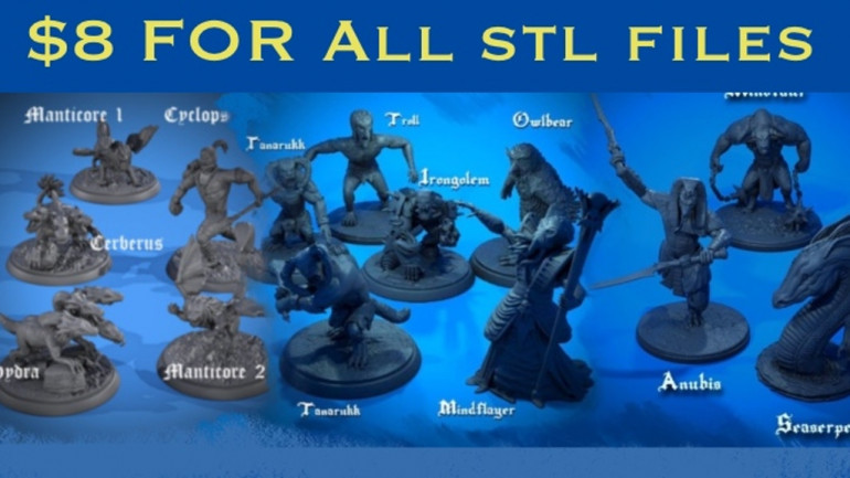 Fantasy and Mythical Beasts: 3d Printable STL files for rpg