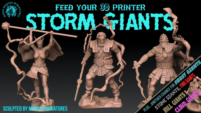 3d printable STORM GIANTS sculpted by Medusa Minis 7 DAYS!