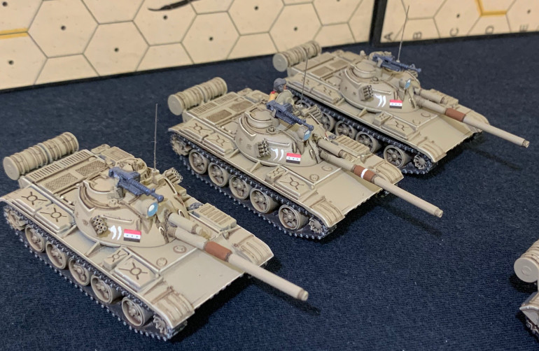 Second platoon of tanks.  These were kit-bashed into an approximation of Type 59 Type IIs.  These were Chinese knock-offs of T-55s ... but then subsequently upgraded with L7 105mm rifles and rudimentary laser range finders.  So an upgrade of a knockoff?  Yeah, weird.  But those L7s made them pretty dangerous in 1991.