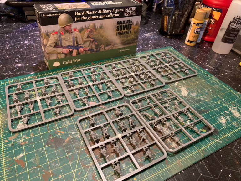 Figures on the sprue.  Box comes with nine