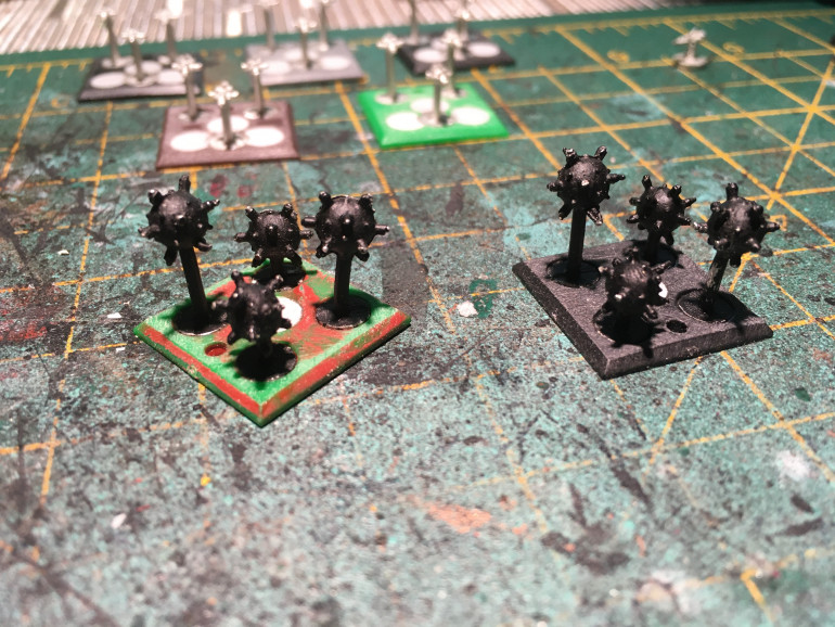 Rebased these mines as well. Might have to get hold of some of the vanguard miniatures ones as these are rather hard to come by these days.