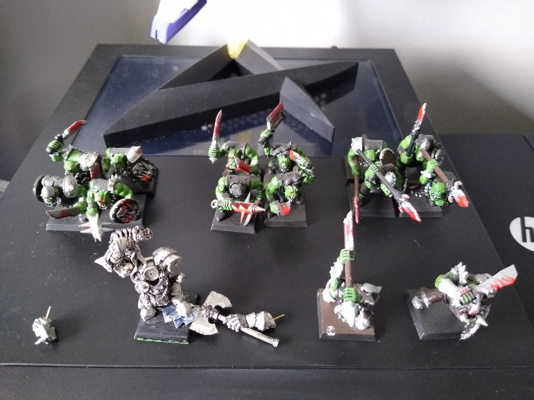 These are the orc miniatures I'd found and quickly realized that they're going to need some work.