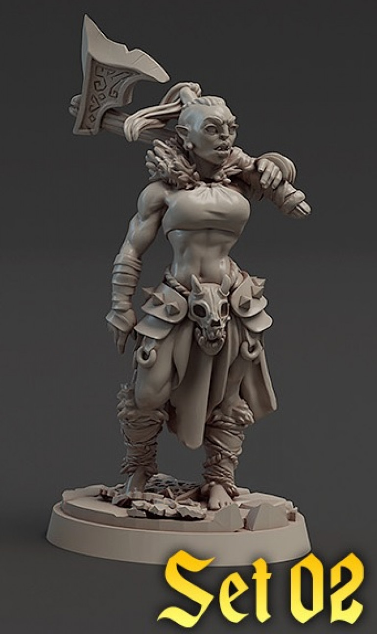 Half Orc Female Barbarian from Titan Forge, as a token nod to Orktober, even though I've never thought about it before