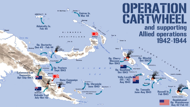 The overall swath of the South Pacific theater, showing the key landings of Operation Watchtower (US, Australian, New Zealand).  Today's game takes place on Bougainville (red rectangle)
