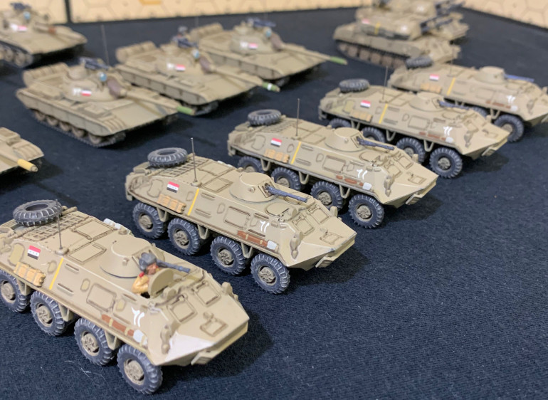 A platoon of five BTR-60 infantry carriers.  Drilled small holes for the antennae.