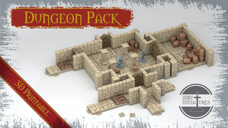 Dungeon Pack 3D Printable Fantasy Scenery and Miniatures