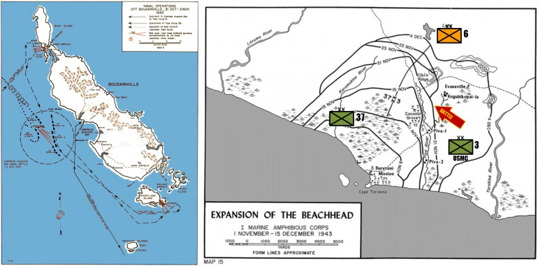 The Operation Cherry blossom Landings at Empress Augusta Bay. Initially 3rd Marine Division went ashore, later reinforced by US Army 37th Infantry.