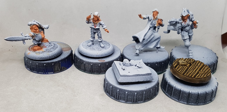 Some solos and bases.  Flesh is based and shaded so far.  The wood floor is finished