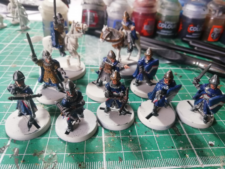 A bit more work on the blue robes of the Norman guards. Mix of contrast and conventional paints