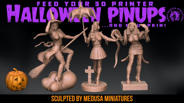 3d printable pinups for Halloween! 7 Days only!