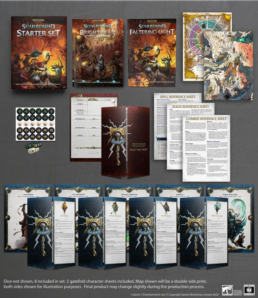 Soulbound Starter Set Contents - Cubicle 7