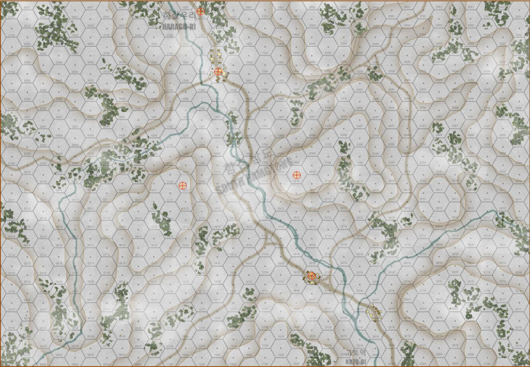 Map for the game, showing about 3 x 5 km of