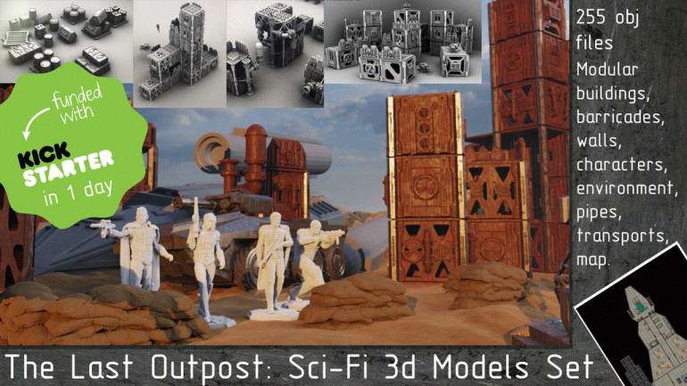 The Last Outpost: Sci-Fi 3d Models Set