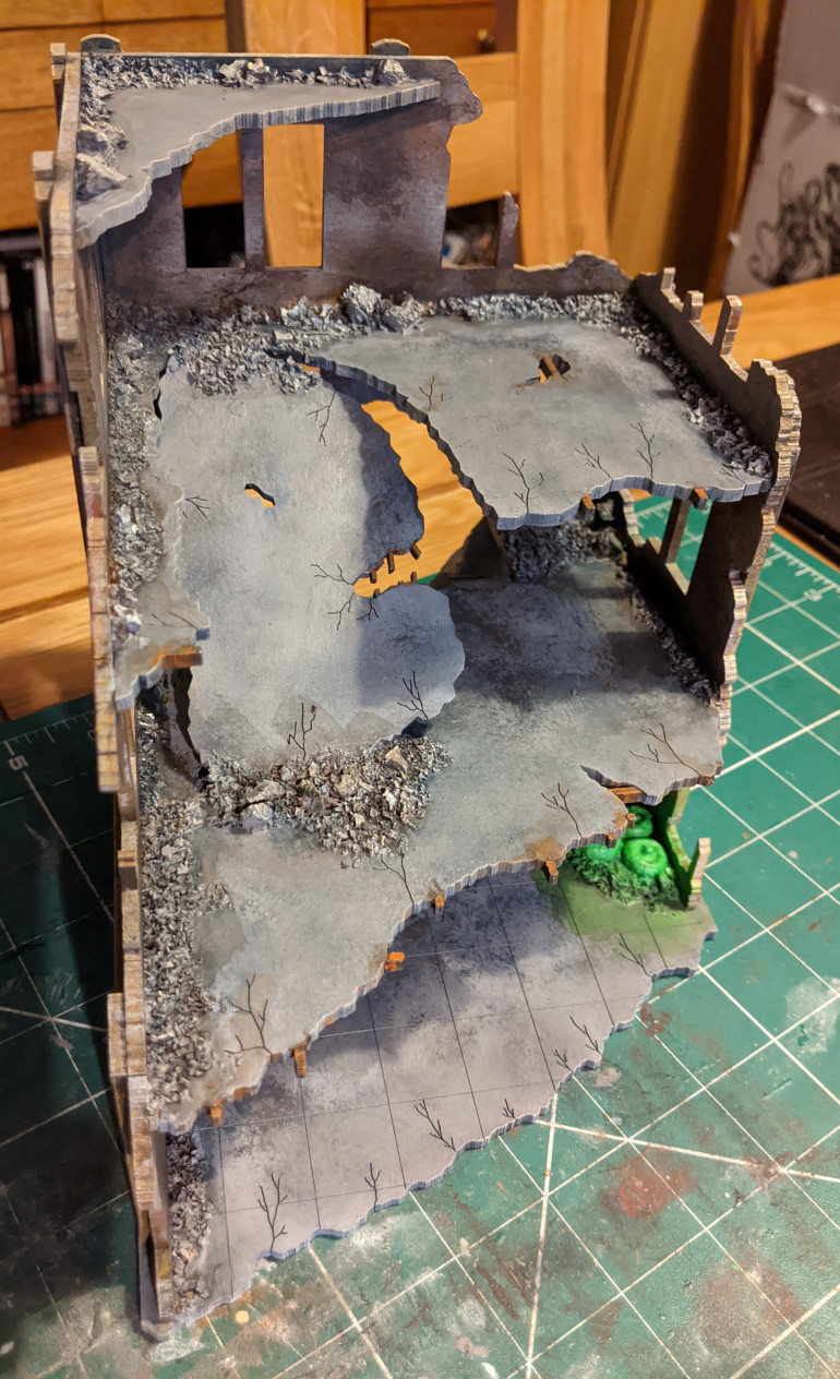 Picking out rebar, the glowing mutant fungi and I put some agrax earthshade over the rubble.e