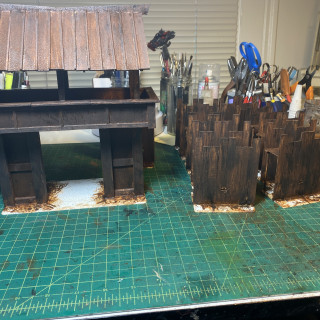 Painting up the wooden fort