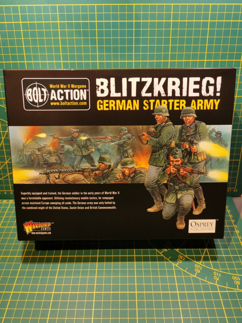 Contents: 6 Sprues of Infantry, one halftrack, one tank, one artillery, one medium mortar
