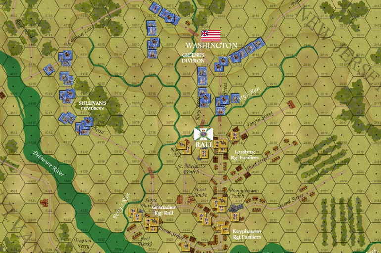 The end of Turn 02, and here is where we will start our live stream later today.  :D  SO FAR ... the Hessians have not been alerted (guard shacks and sentries overwhelmed and captured with bayonets and swords).  They get a roll roll at the beginning of their Turn 2 (not terribly great, but each of the three