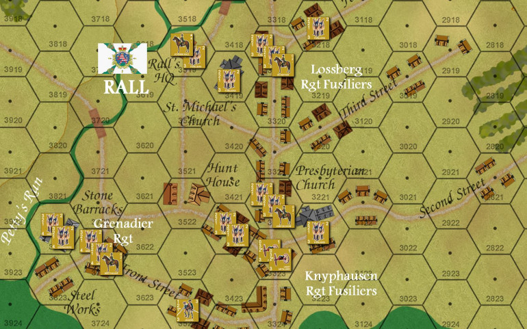 Set up for the initial Hessian dispositions.  The game has activation rules to see if and when the Hessians are alerted (there were guard houses and sentries, contrary to popular belief - they were just overwhemed by advance American troops and the surprise remained nearly total).  Doesn't mean it will be like that on our table, though ...