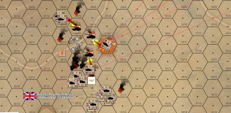 The UK envelops the forward Iraqi spoiling position, with a series of Challenger 1 overruns against Iraqi BTR-60s, while the dismounted infantry make a desperate close assault against the British battalion command group to the south ... they were annihilated by British opportunity fire, even as the Iraqis JUST miss killing a Challenger 1 troop under fire of a whole Type-69 battalion on a far ridge off to the northeast.