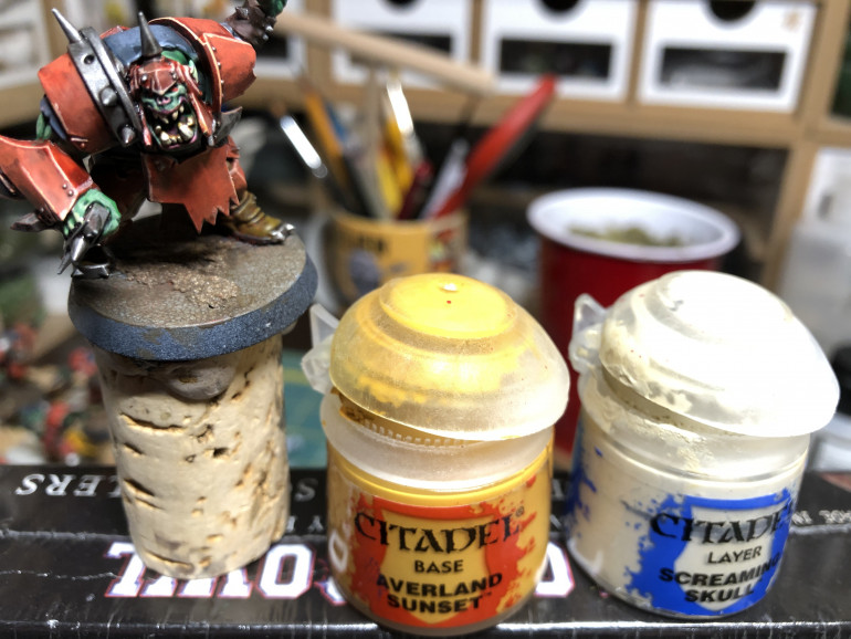 Back to the face and nails with abase coat of Averland Sunset and a highlight of Screaming Skull.